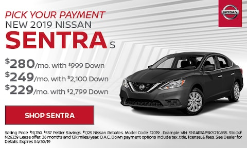 2019 Sentra Pick Your Payment