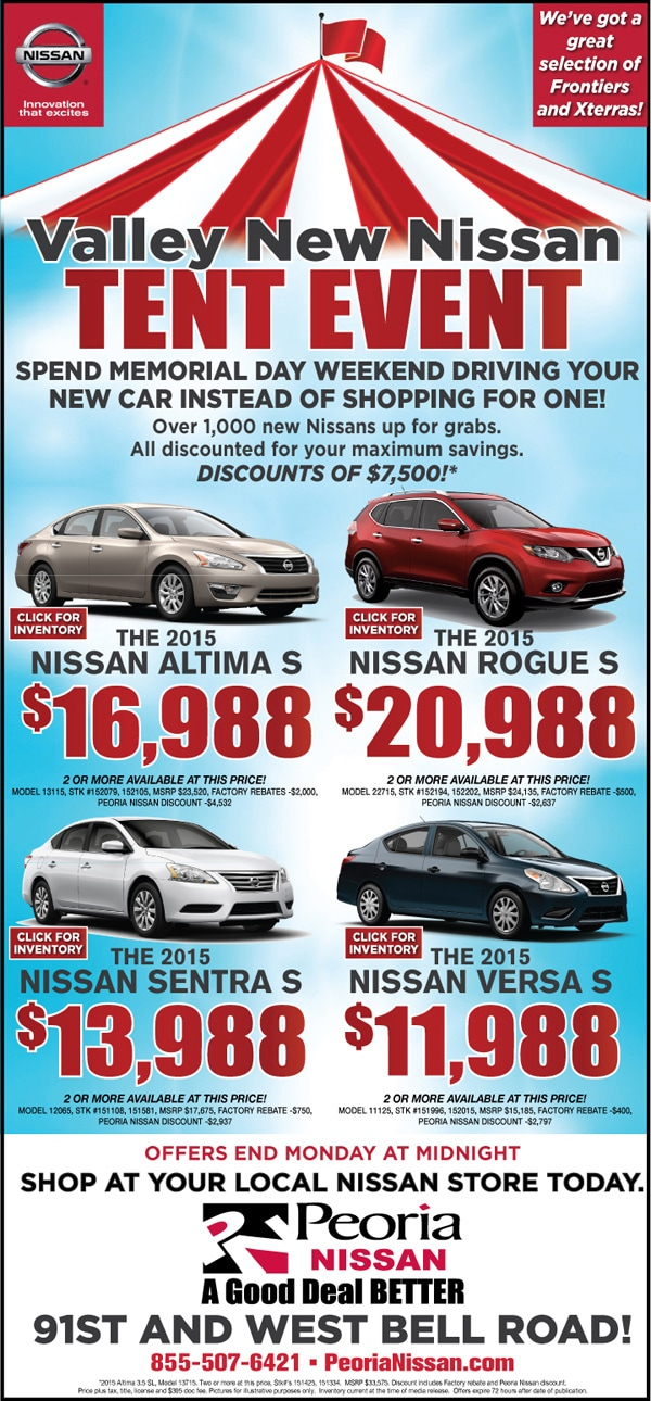 Make an Inquiry  sc 1 st  Peoria Nissan & New Nissan Tent Event lh05142015 | Peoria Nissan