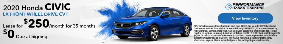 2020 Honda Civic LX Front Wheel Drive CVT