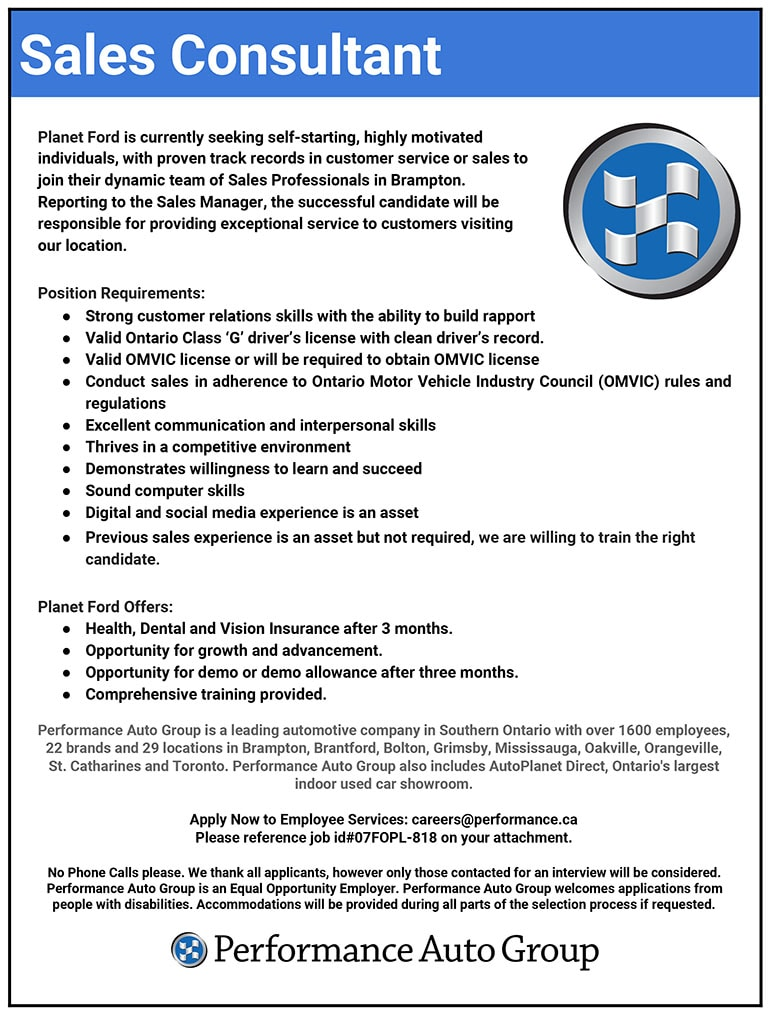Available positions at performance auto group - Back office operations job description ...