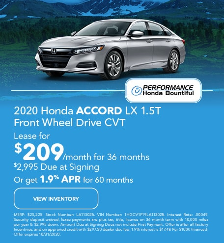 2020 Honda Accord LX 1.5T Front Wheel Drive CVT