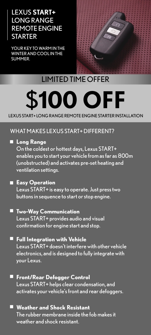 100 off Lexus Remote  Starter