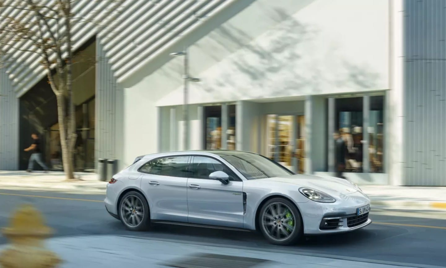 White Porsche Panamera on a city street