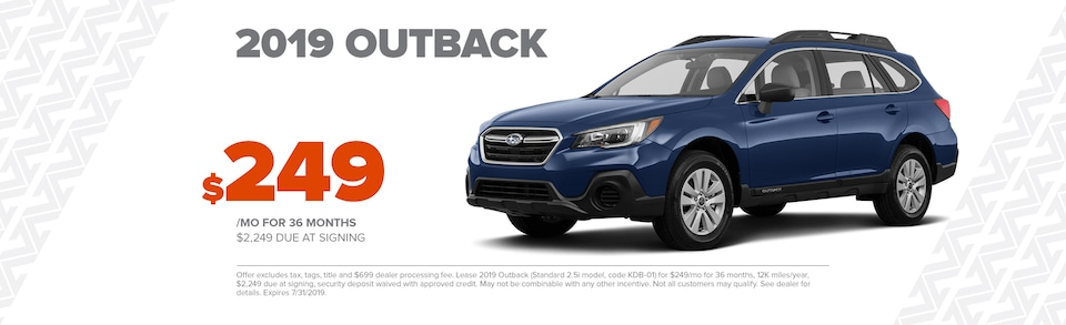 Lease a new 2019 Outback for $249/Month