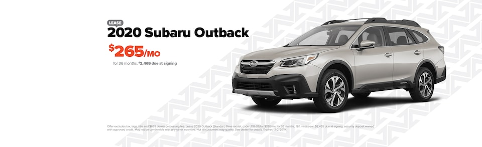 Lease a new 2020 Outback for $265/Month