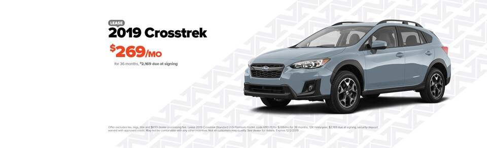 Lease a new 2019 Crosstrek for $269/Month
