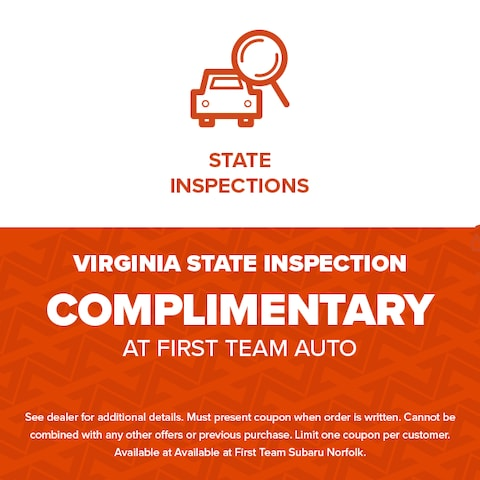 Virginia State Inspection Complimentary At First Team Auto
