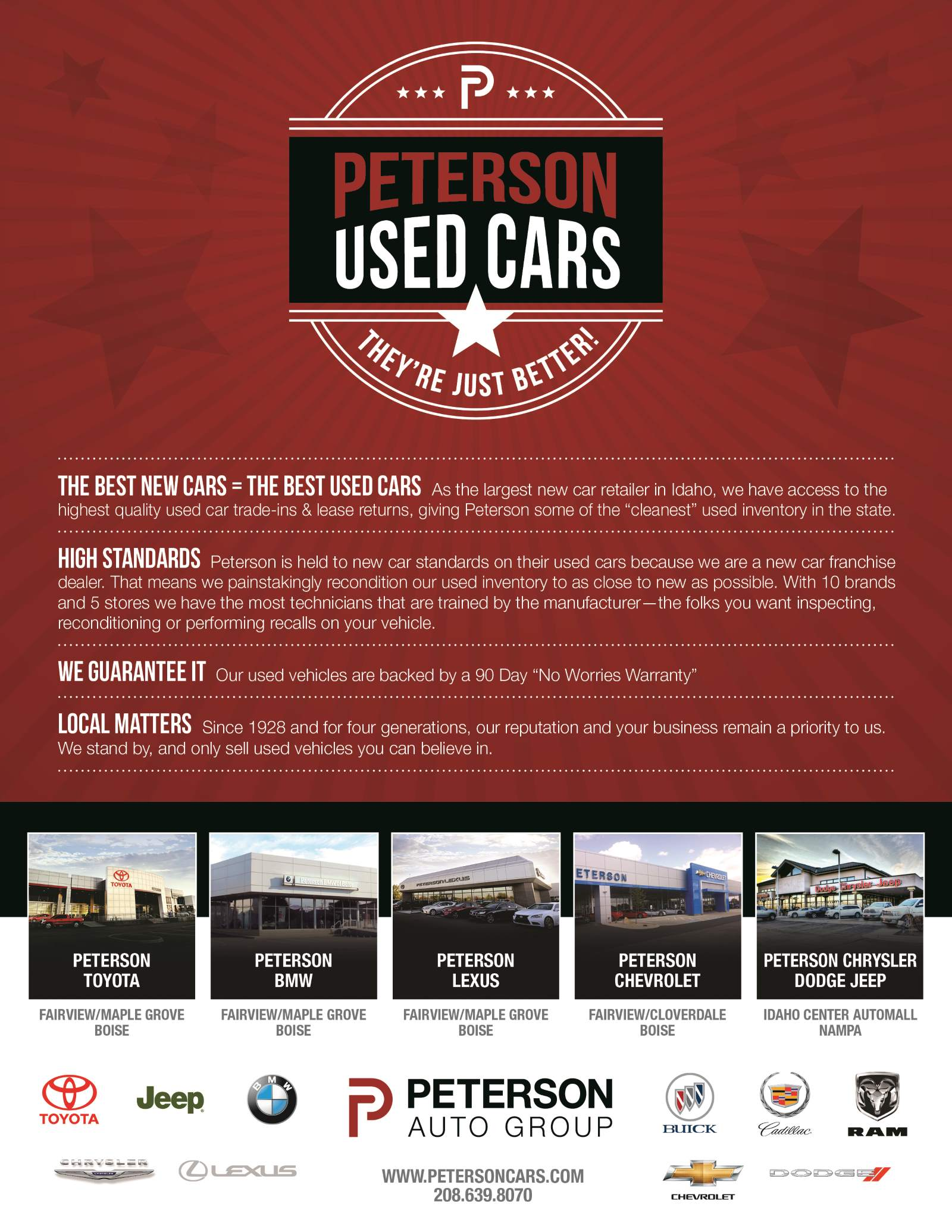 Peterson Used Cars features one of the highest quality used car inventories in Idaho