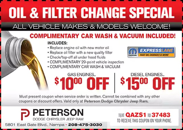 Service Specials in Nampa, ID | Peterson Dodge Chrysler Jeep Ram