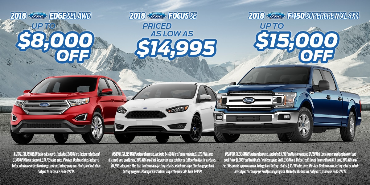 Promotional flyer showing new Ford truck and car specials in Colorado Springs at Phil Long Ford Chapel Hills