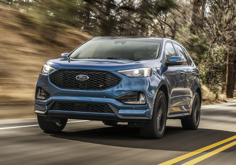 2020 Ford Edge ST front exterior view in-motion driving picture at high speeds