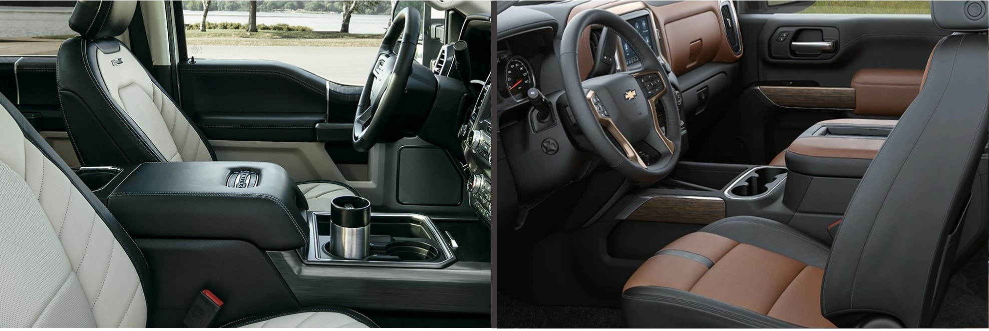the interior seating and dashboard of a 2020 f-150 side by side to a Silverado 2500