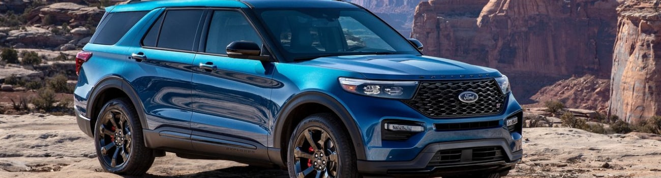 Brand new look at the 2020 Ford Explorer exterior parked on a cliff in a mountain valley