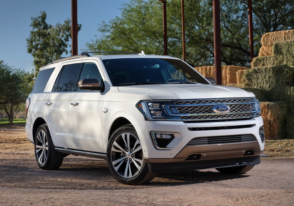 2020 Ford Expedition exterior design front view parked by bales of hay on a farm