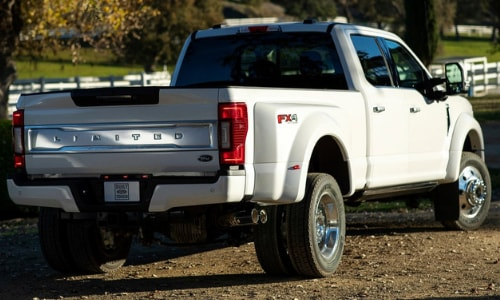 2020 Ford Super Duty rear exterior white F350 limited