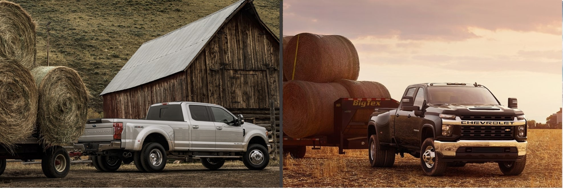 A 2020 F-150 towing rolled hay bales next to a 2020 Chevy Silverado 2500 towing hay bales.