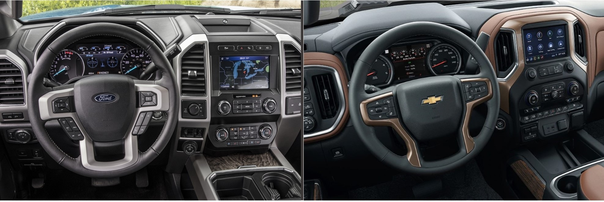 the interior dashboard of a 2020 Ford F-150 compared to a 2020 Chevy Silverado 2500