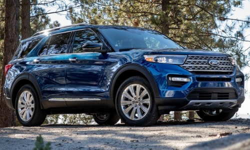 2020 Ford Explorer parked cliff opening forest