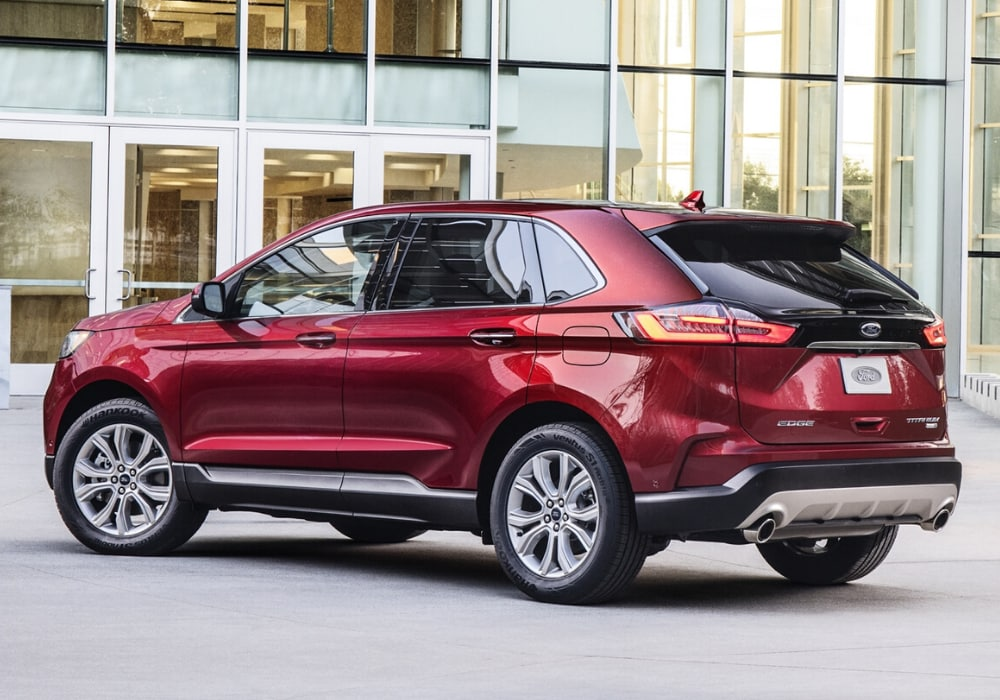 2020 Ford Edge Titanium rear exterior view in red color