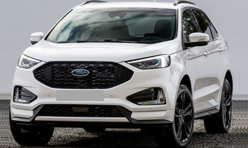 2020 Ford Edge white parked cloudy rocky gravel