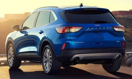 2020 Ford Escape blue rear view parked sunset scene