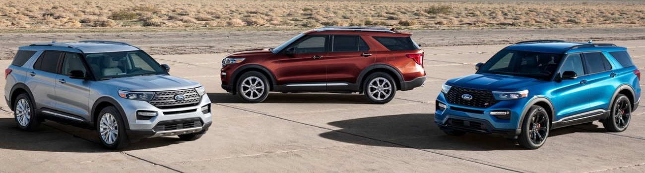 Aerial view of a 3 SUV fleet of the new 2020 Ford Explorer models in Colorado Springs