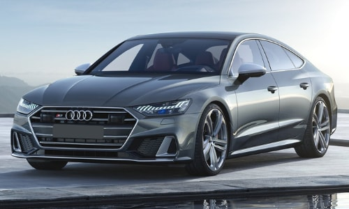 2020 Audi S7 parked by small reflection pond