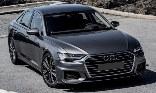 2020 Audi A6 passenger side aerial view rocky hills
