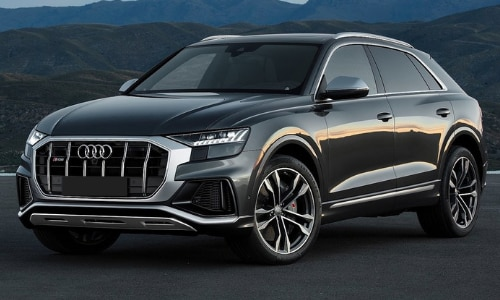 2020 Audi SQ8 parked hill country mountain range