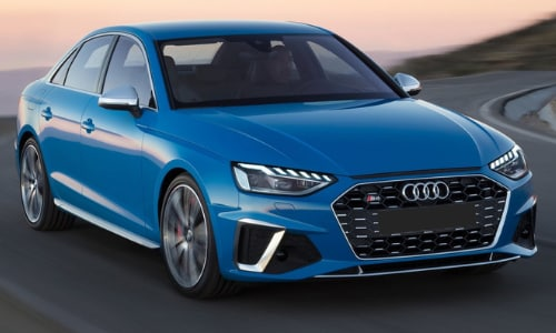 2020 Audi S4 light blue driving fast curvy road