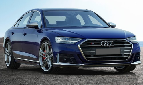 2020 Audi A8 dark blue asphalt slab sunsrise
