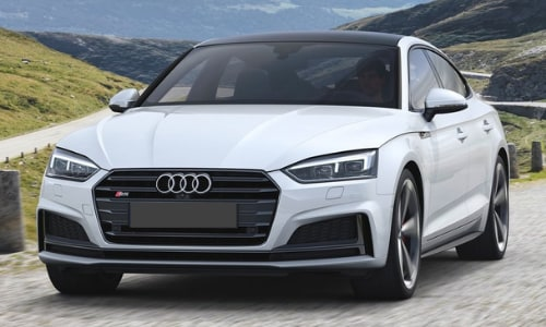 2020 Audi S5 white black roof hill country road concrete posts