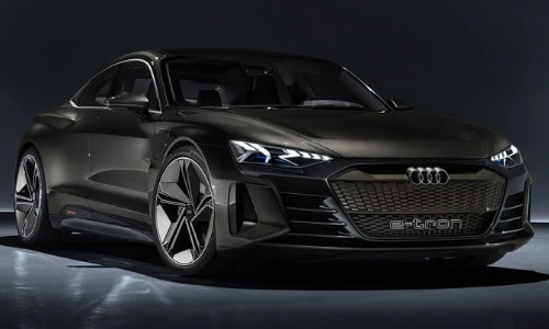 2021 Audi e-tron GT concept dark garage surrounding illuminating light
