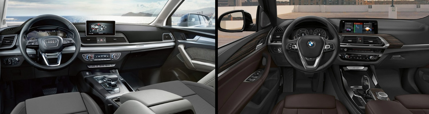 Side by side interior comparison of the 2019 Audi Q5 vs 2019 BMW X3
