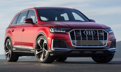 2020 Audi Q7 red asphalt mountain range