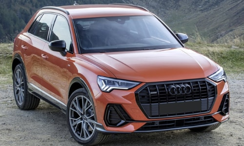 2020 Audi Q3 orange gravel road cliff