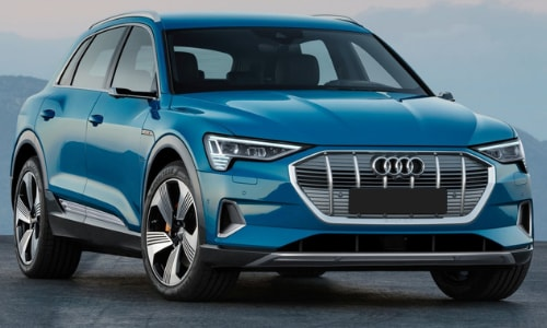 2020 Audi e-tron blue parked still shot concrete slab overlook