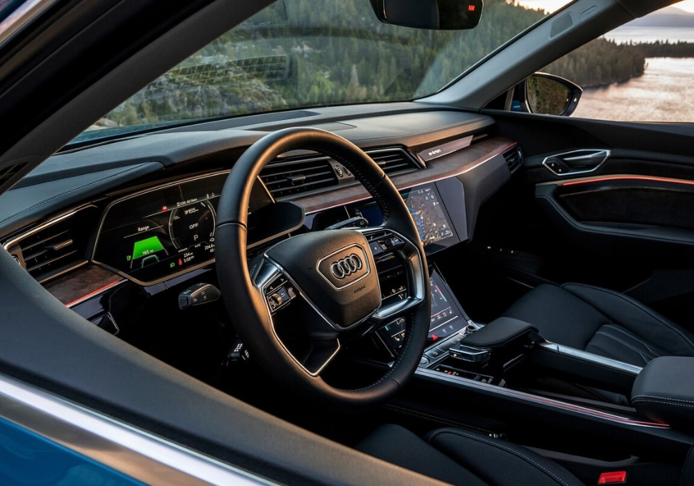 2020 Audi e-tron SUV interior as seen from the outside of window of the driver seat