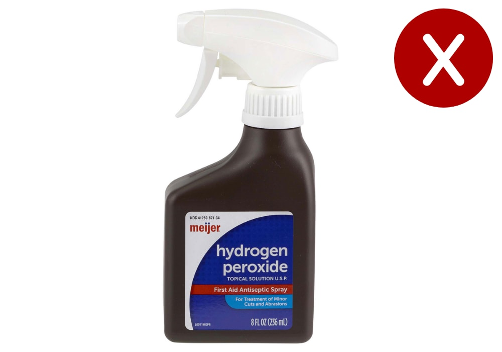 Hydrogen Peroxide or cleaning agents containing hydrogen peroxide are not good for your car interior