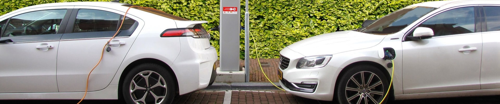 Two used plug-in hybrid cars parked side by side at a charging station