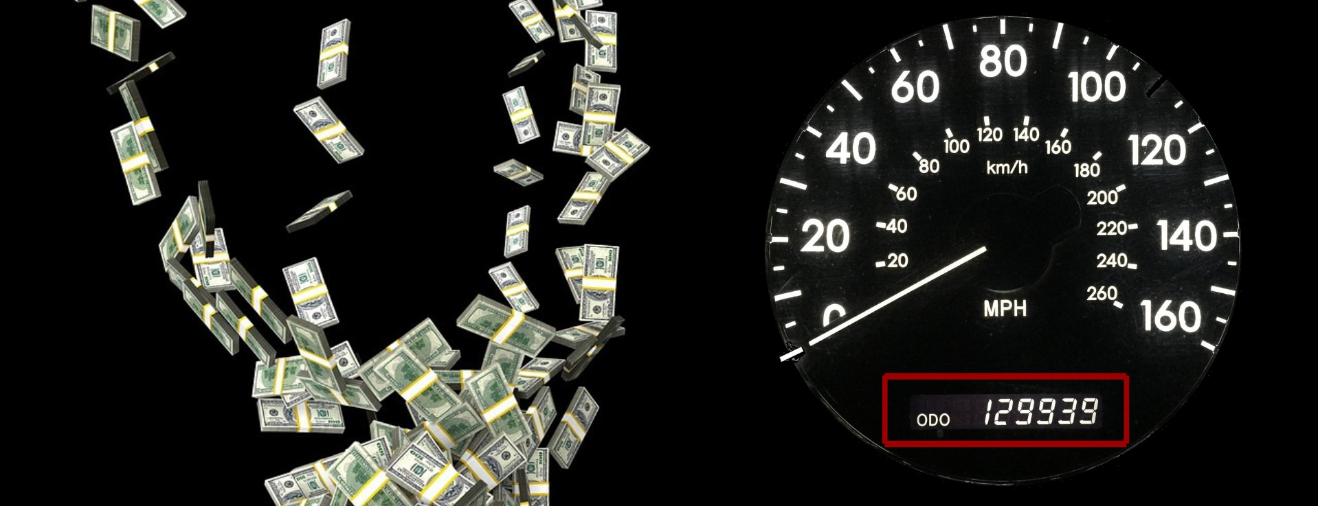 Dark image of a used car odometer showing high mileage with lots of cash falling