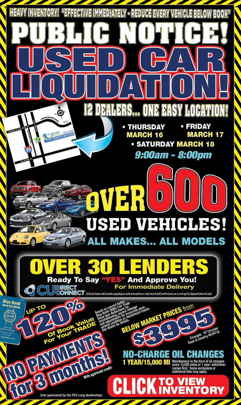 past Phil Long used cars liquidation event