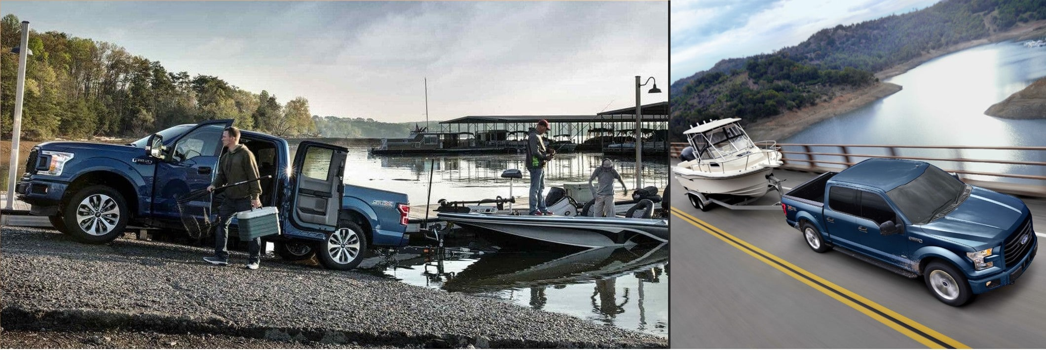 a 2018 F-150 towing a boat next to a 2017 F-150 towing a boat on the road
