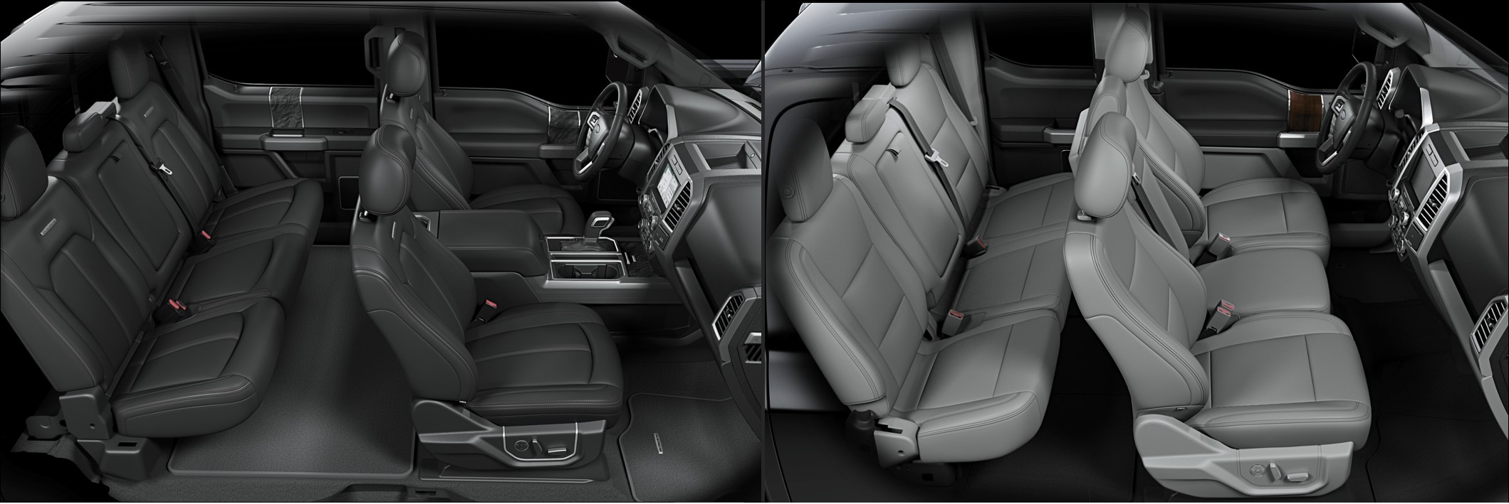 the interior seating of a 2018 vs. 2017 Ford F-150