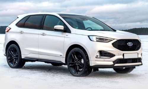 2020 Ford Edge white parked snowy field