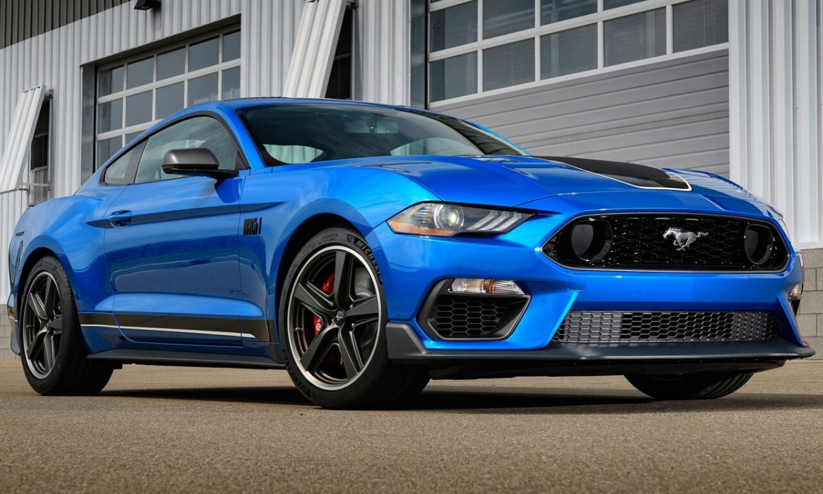 Blue limited edition 2021 Ford Mustang Mach 1 front exterior design