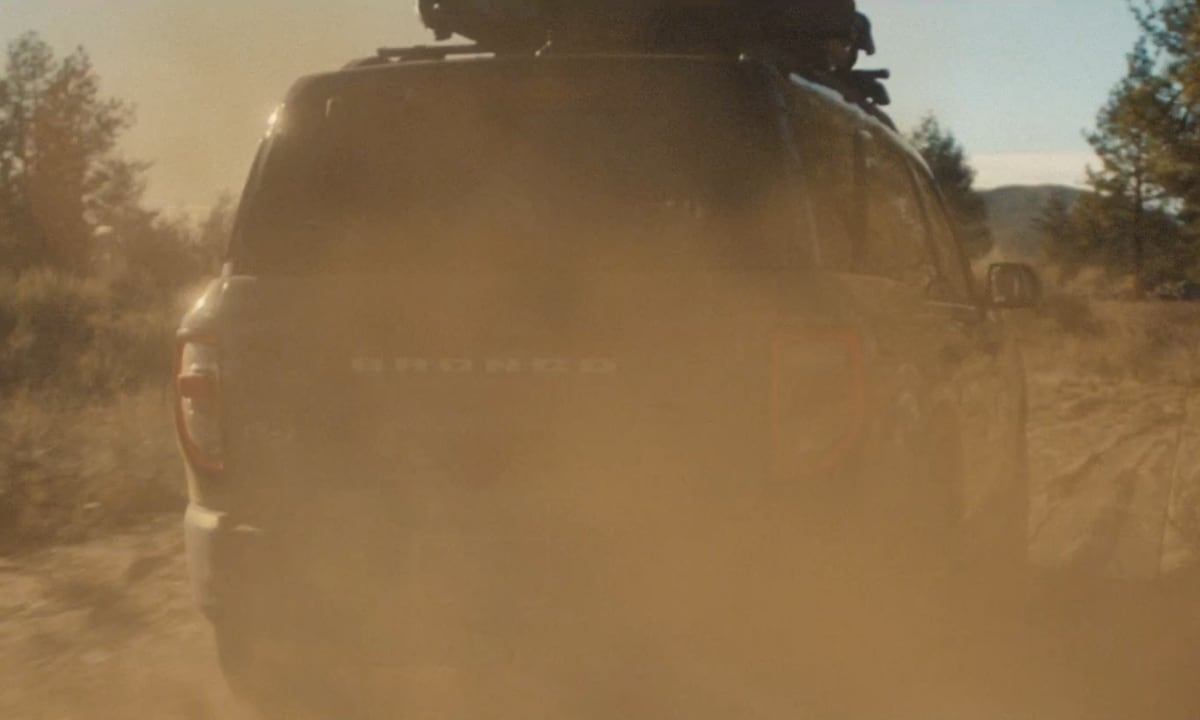 Teased image of the rear view on a 2021 Ford Bronco Sport grabbed from the Built Wild Bronco Family video from Ford