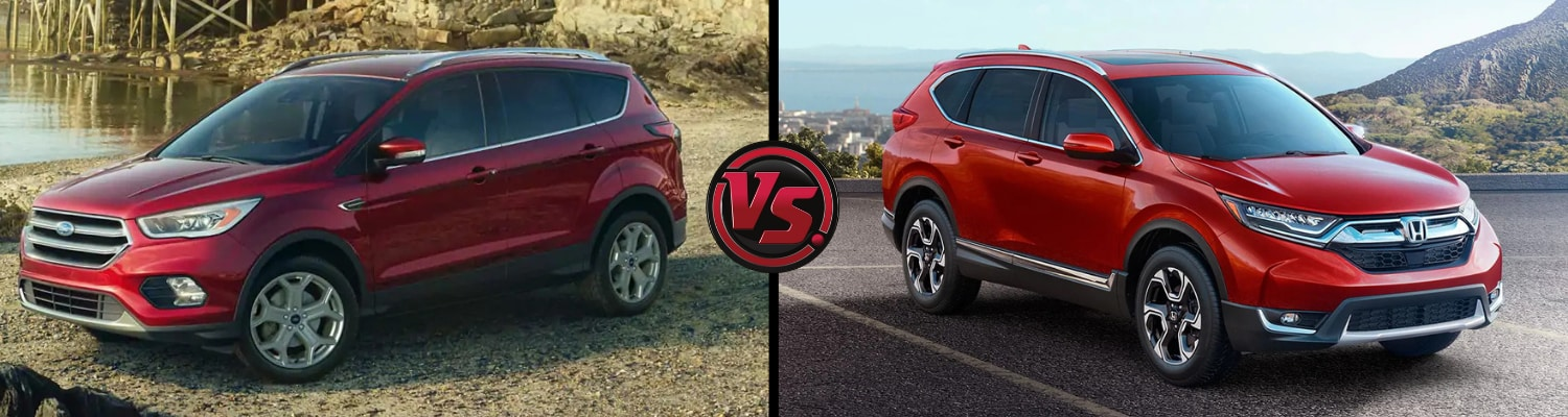 Back to back view comparing the 2019 Ford Escape to the 2019 Honda CR-V