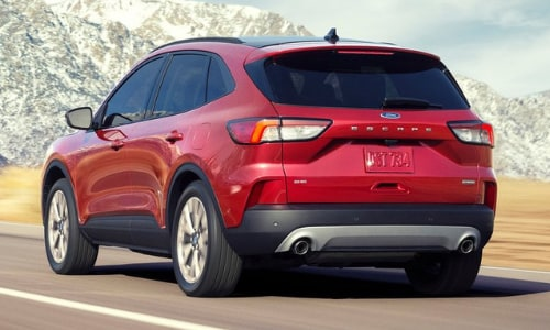 2020 Ford Escape red rear exterior mountain pass highway