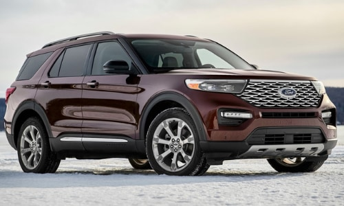 2020 Ford Explorer burgundy snowy cliff